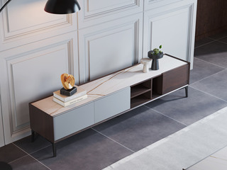 极简风格 实木抽屉 劳伦白金 岩板 电视柜