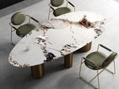 慕梵希 轻奢风格 不锈钢+岩板 1.6米 餐桌