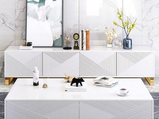 轻奢 黑白亮板哑光烤漆 岩板 白色 茶几(长1300mm)