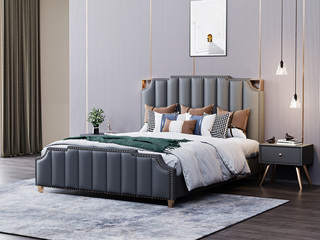 轻奢风格 舒适软包+实木框架 1.5米 灰色 高档皮艺床