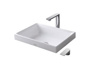 智洁 薄形外观 不易溅水 白色 桌上式洗脸盆(图中龙头另购)