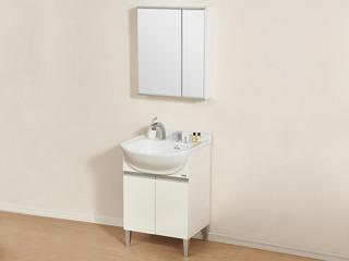陶瓷 落地式防潮白色柜体+抽拉龙头+储物镜柜 浴室柜组合