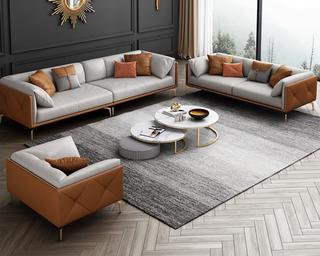 轻奢风格 全实木框架 羽绒公仔包 双人位 橙色+浅灰色 布艺沙发