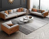慕梵希 轻奢风格 全实木框架 羽绒公仔包 双人位 橙色+浅灰色 真皮沙发