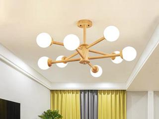 【包邮 偏远地区除外】 现代简约 暖光白光三色变光 原木色吊灯8头客厅书房卧室灯具(含光源)