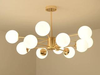 【包邮 偏远地区除外】 美式乡村 LED光源 金色灯体吊灯12头卧室客厅餐厅灯具(含光源)