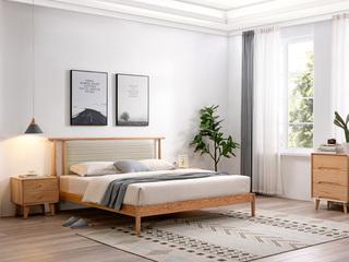 北欧风格 北美进口白蜡木 原木色 皮艺软靠 1.5*2.0米床