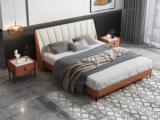 卡罗亚 时尚简约 实木框架 橙色+米白色 皮艺 1.8米双人床(搭配实木排骨架)