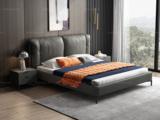 卡罗亚 时尚简约 实木框架 深灰色 皮艺 1.8米高箱双人床(搭配实木排骨架)