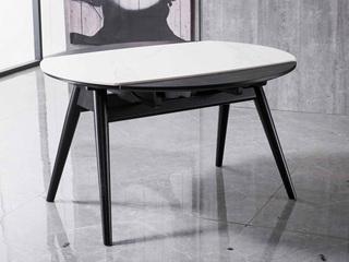 意式极简 黑白拼接 多功能伸缩餐桌