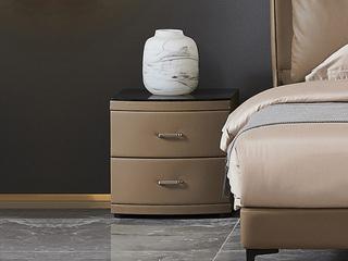 潮品系列 轻奢风格 C-36 床头柜 棕色扪皮床头柜