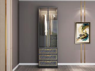 轻奢风格 质感雅黑柜体 金色轮廓线条 长0.6米玻璃门2开门衣柜