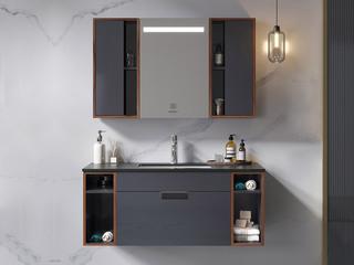 【包邮 送货到家】 极简风格 静谧黑岩板台面 智能柔光照明镜 超大储物空间 110CM 浴室柜套装(龙头需单独购买)