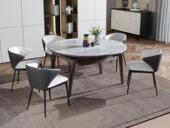 卡罗亚 现代简约 防刮耐磨 易清洗 卡拉亚灰岩板台面 圆形多功能跳台餐桌