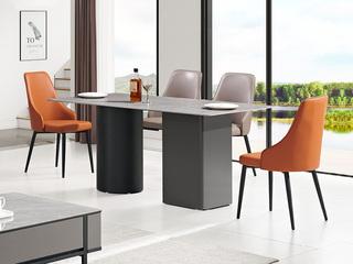 现代简约 岩板台面 黑灰脚 长方形实用餐桌