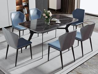 现代简约 1.4米 防刮耐磨 亮光岩板 餐桌