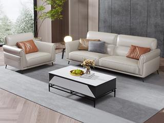 现代简约 高弹舒适 头层牛皮+实木框架 1+3人位 组合沙发(不含抱枕)
