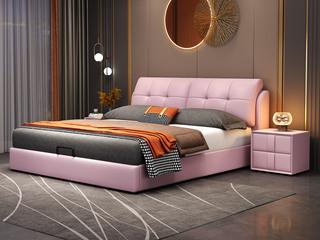 现代简约 实木框架 柔软舒适海绵 淡粉色皮艺1.8米床(搭配排骨架)