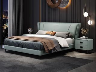 现代简约 实木框架 柔软舒适海绵 浅绿色皮艺长1.9米床(搭配排骨架)