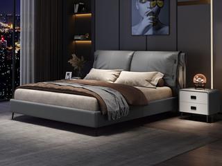 现代简约 实木框架 柔软舒适海绵 深灰色皮艺1.8米床(搭配排骨架)