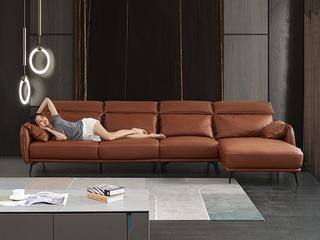 现代简约 皮艺 橘色 转角沙发(1+3+左贵妃)