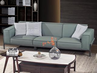 中式简约 真皮 实木 高弹舒适 绿色 双扶手4人位沙发