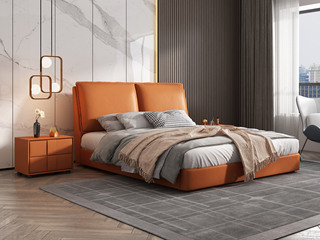 极简风格  充盈软靠 实木 爱马仕橙色 皮艺 1.5米双人床