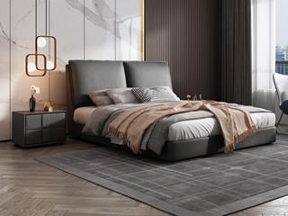 极简风格  充盈软靠 实木 深灰色 皮艺 1.8米双人床