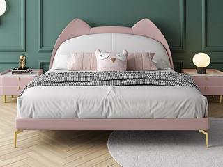 轻奢风格 全实木内架 奶油粉+米白色 科技布1.5米 卧室软床(搭配10公分松木排骨架)