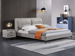 极简风格 舒适软靠 高端皮艺+实木框架 浅灰色 1.8米 床