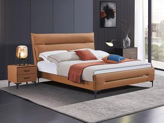 极简风格 舒适软靠 高端皮艺+实木框架 爱马仕橙 1.5米 床