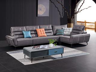 极简风格 高弹坐感 超柔科技布+乳胶+羽绒 实木框架 右贵妃 转角沙发(靠头可调节)
