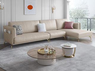 轻奢风格 仿真皮 全实木框架松木 鹅绒羽绒 奶咖色 1+3+左贵妃转角沙发