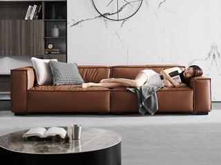现代简约 高弹舒适 防水科技布+羽绒+公仔棉 3米 组合沙发