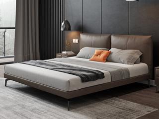 极简风格 真皮 全实木内架 超柔软鹅绒 1.8米卧室双人床(搭配10公分松木排骨架)