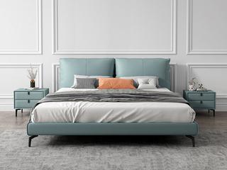 极简风格 全实木内架 超柔软鹅绒 科技布1.8米卧室双人床(搭配10公分松木排骨架)