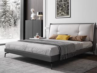 极简风格 全实木内架 超柔软鹅绒 皮艺1.8米卧室双人床(搭配10公分松木排骨架)