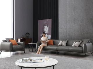 极简风格 高弹舒适 整块乳胶+全实木框架+白鹅羽绒靠包 四人位 真皮沙发