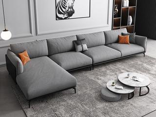 极简风格 舒适透气 意大利进口麻棉面料+全实木框架+白鹅羽绒靠包 1+3+右贵妃 皮布结合沙发
