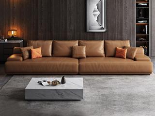 极简风格 高弹舒适 全实木框架+白鹅羽绒靠包 大四人位 仿真皮沙发