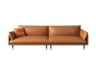 极简风格 高弹舒适 全实木框架+白鹅羽绒靠包 四人位 仿真皮沙发