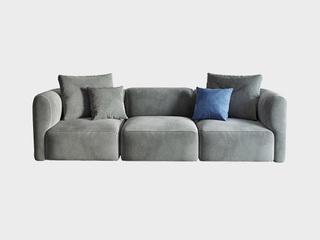 极简风格 高弹舒适 全实木框架+公仔棉+乳胶 大四人位 绒布沙发