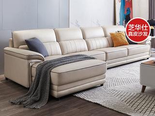 现代简约 五星坐感 头层牛皮+实木框架 1+3+左脚位 转角沙发(不含抱枕)