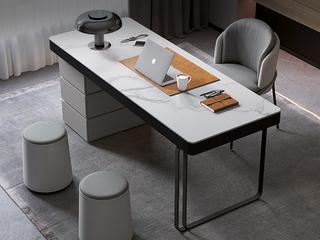极简风格 防刮耐磨岩板台面 大容量储物 防撞圆润边角 承重力强 长1.2米书桌