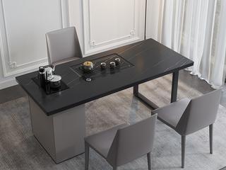 极简风格 意式耐高温雪山白岩板台面 茶桌书桌二合一 全自动智能烧水茶炉 长1.6米功能书桌