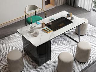 极简风格 防刮耐磨岩板桌面 多功能储物柜 健康环保 长1.6米茶台