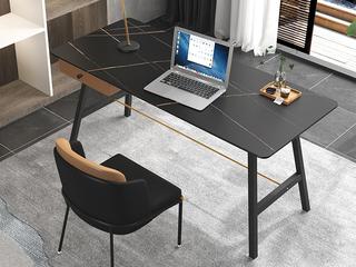 极简风格 防刮耐磨岩板台面 实木  长1.2米书桌