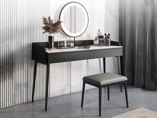 极简风格 防刮耐磨耐高温岩板台面 双抽式实木储物抽屉 黑色哑光 妆台+妆镜+妆凳 长1米妆台组合