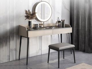 极简风格 防刮耐磨耐高温岩板台面 双抽式实木储物抽屉 卡其色 妆台+妆镜+妆凳 长1.2米妆台组合