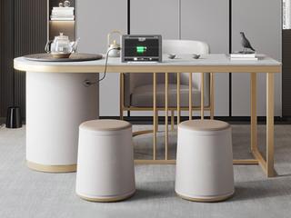 轻奢风格 防刮耐磨 岩板台面  环保实用 长1.4米茶台+1个茶椅+2个圆凳茶台组合